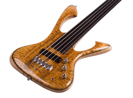 CUstom E-Bass Kronos 5 String fretless Spalted Sounds